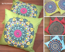 "Pack of 2 Linen Cushion Cover Pillow Case 45x45 cm 18"" Ethnic Hidden Zip Closure"