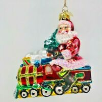 Kurt Adler Noble Gems Glass Santa On Train Ornament Current Seasonal