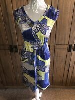 White Stuff Ladies Bright Coloured Unsual Dress Size 8 Blue White Yellow Leaves