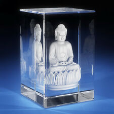 3D Laser Crystal Glass Etched Engrave Paperweight Stand Buddha Portrait S
