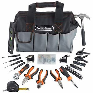 VonHaus 92pc DIY Household Hand Tool Kit Set with Organiser Storage Bag