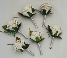 Wedding Flowers Set Of 6 Silver Grey Buttonholes With Ribbon And Diamante Trim
