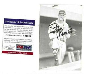 Stan Musial Autographed St Louis Cardinals Baseball Rowe Postcard Photo PSA COA