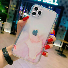For iPhone 12/Pro/Max/Mini 11 Clear Marble Shockproof Case Glitter Bling Cover