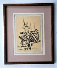 """Listed Mexican/Spain Artist - Arturo Perez (20th.C)) Dr/P - 11.5 x 8.5"""". Signed"""