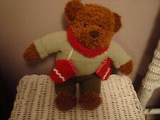 """Hallmark Teddy Mittens 100 Year Anniversary 12"""" Bear w/ Red Scarf & Mittens Vguc"""