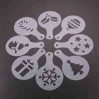 Set 8x stencil mascherine decorazione tazza caffè cappuccino latte NATALE bar
