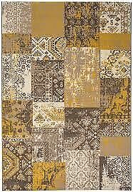 Revive Modern Yellow Distressed Soft Polypropylene Classical Patchwork...