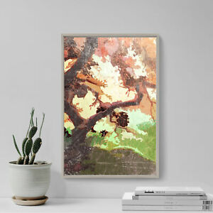 """Abstract Art Print """"JAPANESE MAPLE"""" Glossy Photo Poster Gift Pink Orange Forest"""