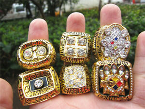6pcs Pittsburgh Steelers  American Football Team Ring Set Souvenir Fan Men Gift