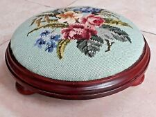 Vintage mahogany wood footstool with pink floral embroidery