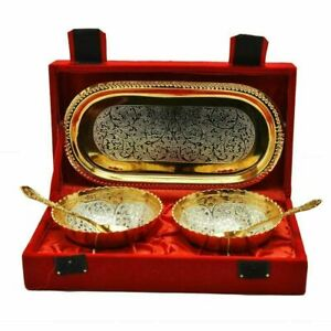 Aluminium Silver Plated 2 Bowls Set with 2 Spoons and 1 Tray Home Decor Gift Set