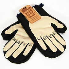LOVE HATE Oven gloves -Mans Tattoo knuckles mits comedy For Him