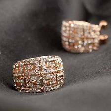 18K Rose Gold Plated Made With Swarovski Element Vintage French Clip Earrings