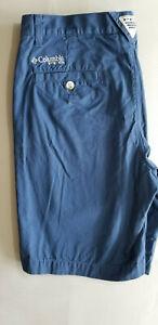 COLUMBIA PFG Men Regular 100% Cotton Outdoor Fishing Shorts - Size 30 x 10 Blue