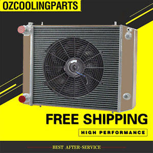 4 ROWs Radiator For Land Rover Defender Discovery 300TDI 90/110 BTP2275+14'' fan