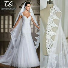 2019 Ivory Wedding Veil 1 Layer Lace Edge Cathedral Bridal Veils without comb