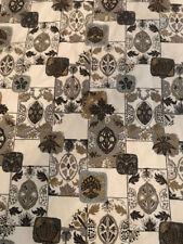 Vintage '50's Bark Cloth Bedspread Lined Nut Seed Leaf Pattern Gold Brown Black