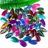 100Pcs Multicolor Dragon Veins Agate Teardrop Pendant Bead 30*15*6mm HH6481
