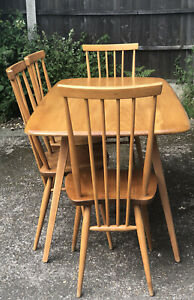 RETRO ERCOL PLANK  DINING TABLE & 4 MATCHING CHAIRS  AMAZING QUALITY WE DELIVER