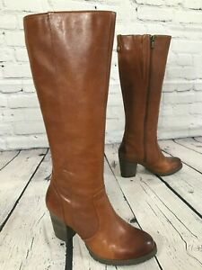 CLARKS Mission Brynn Tall Brown Leather Dress Boots 64529 Women's Size 7.5 M EUC
