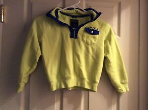 Nautica Pullover Neon Yellow w/ Blue 1/4 Zip Size Youth Boys XL 18/20