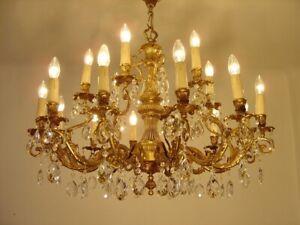 """HUGE GOLD BRONZE CRYSTAL CHANDELIER LAMP FIXTURES LIGHTINGS 18 L Ø 35"""""""