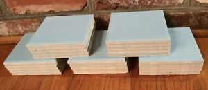 MCM Lot of 25 Light Blue Ceramic Square Tiles 4.25 Made in USA NOS Dale-Tile J1