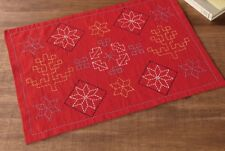 Japan Embroidery SASHIKO KIT With Needle Thread OLYMPUS PLACE MAT HOKUOU RED