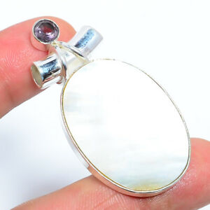 """Mother Of Pearl & Amethyst-  Gemstone 925 Sterling Silver Pendant 1.99"""" S2624"""
