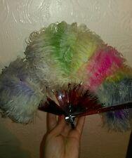 Antique art deco flapper multi colour feather folding hand held fan bakelite?