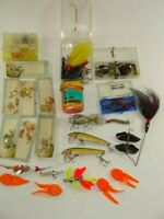 Vintage Lot of Misc Fishing Lures Flies Hooks Trout Bait Reel Parts & Extras
