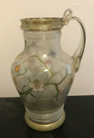 Old Antique FRITZ HECKERT Enameled Bohemian Czech Art Glass Pitcher REPAIRED