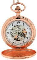 Boxx Mens Rose Goldtone Skeleton Mechanical Pocket Watch 12 Inch Chain Boxx242