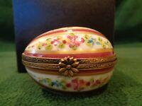 Limoges Signed Porcelain Egg Hinged Trinket Box Decor Main Handpainted Lo D