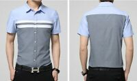 Men Short Sleeve Casual Formal Shirt Color Splice Button Down Business Shirt NEW