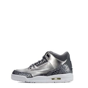 Air Jordan 3 Retro Premium Heiress Junior Youth Trainers Shoes Metallic Silver