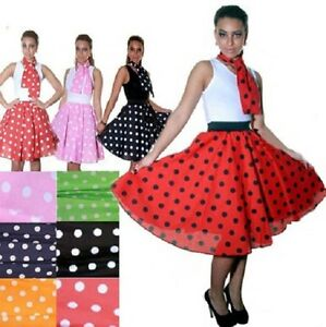 New Ladies Women 50s Rock n Roll Swing Circle Skirt Or Scar Fancy Dress Costume