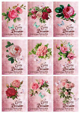 9 Card Toppers Pink Roses French Victorian Vintage Craft Supplies Flowers
