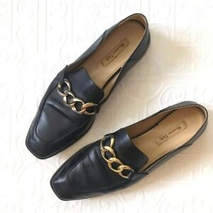 Massimo Dutti Black Leather Chain Link Loafers 37