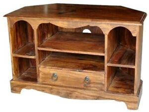 Wooden Corner TV Cabinet made from Solid Sheesham Wood