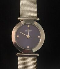 Skagen Women's Wristwatch 107SSSN Blue Round Face Silver Mesh Band
