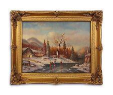 Peinture à l'huile sur Bois dans bois/cadre de résine pièce d'or Sur le Glace