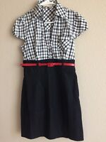 EUC Forever 21 Black & white check Shirt Dress with red Belt - Size M