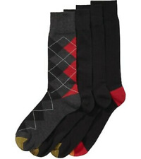 Gold Toe Men's 4-Pack Argyle Crew Dress Socks Black Assorted Size 10-13 NEW $40