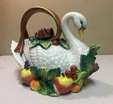 Vintage Fitz & Floyd Essentials Porcelain Swan Tulip Teapot with Original Box