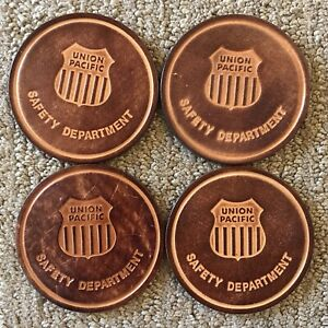 """Union Pacific 3"""" Leather Coasters Set of 4 safery department"""