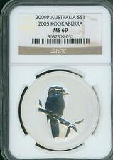 2009-P 2005 Design $1 AUSTRALIA KOOKABURRA 1 Oz SILVER 20th Anniversary NGC MS69