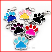 Pet ID Tags Plating Two-Color Footprint Cats Puppies Dog Collar Accessories