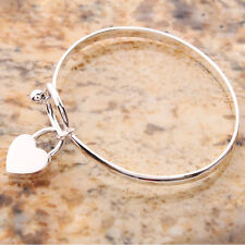 Fashion 625 Sterling Silver Charm Peach Heart Bangle Bracelet High Quality New